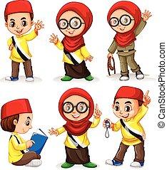 Brunei children in costumes illustration