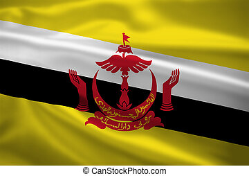 Brunei flag blowing in the wind