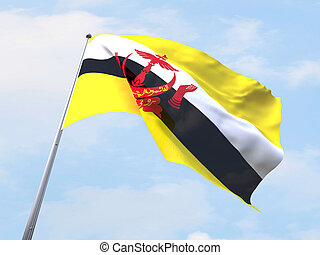 Brunei flag flying on clear sky.