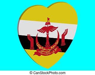 Brunei Flag In Heart Shape 3D Vector illustration eps 10