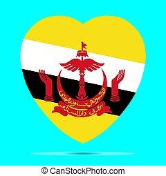 Brunei Flag In Heart Shape Vector illustration eps 10