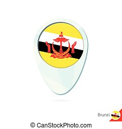 Brunei flag location map pin icon on white background....