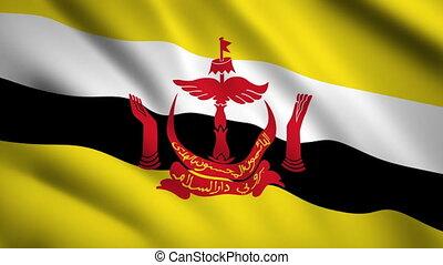 Brunei flag Motion video waving in wind. Flag Closeup 1080p HD footage
