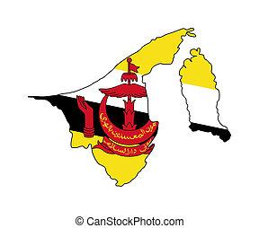 Brunei flag on map