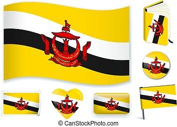 Brunei flag wave, book, circle, pin, button, heart and sticker.
