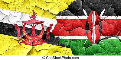 Brunei flag with Kenya flag on a grunge cracked wall