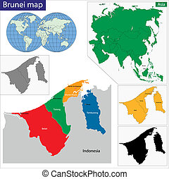 Brunei map - Map of Brunei with the provinces colored in...