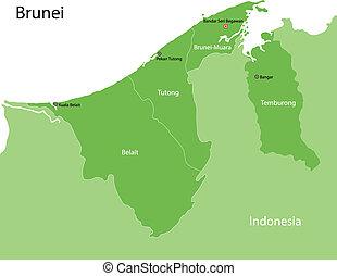 brunei, mappa verde