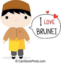 Brunei Men National Dress Cartoon Vector