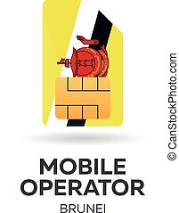 Brunei mobile operator. SIM card with flag. Vector illustration.