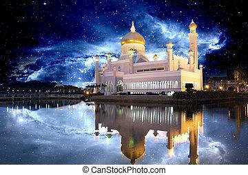 brunei, moskee, met, galactisch, achtergrond