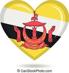 Brunei national flag in heart shape vector illustration