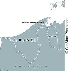 brunei, político, mapa