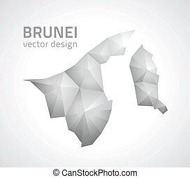 brunei, triangel, karta, grå, perspektiv, mosaik