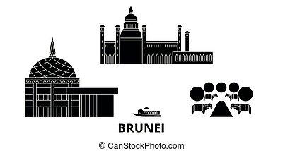 brunei, ville, voyage, illustration, landmarks., plat, symbole, horizon, vecteur, noir, vues, set.