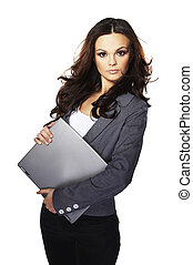 Brunet Business woman standing with gray laptop on light...
