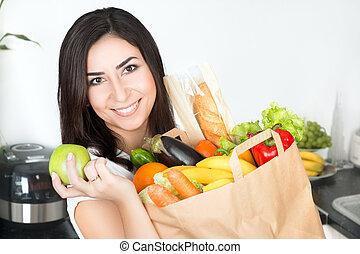 brunet, mulher segura, saco papel, com, comida vegetariana