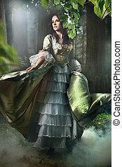 bruneta, kráska, staromódní, les, nádherný, obléci