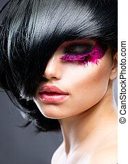 bruneta, vzor, móda, portrait., účes