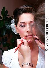 brunetka, artysta, makijaż, przygotowywać, młody, panna młoda, piękny