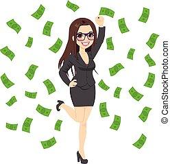 brunetka, bogaty, pomyślny, handlowa kobieta