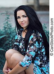 brunetka, dziewczyna, piękno, portrait., hair., wzór, woman., hairstyle., outdoors, zdrowy, długi, piękny, resting.