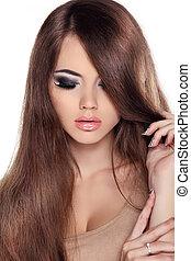 brunetka, fringe., fason, girl., połyskujący, piękno, hair., wzór, woman., odizolowany, brązowy, samica, hairstyle., zdrowy, tło., długi, piękny, biały