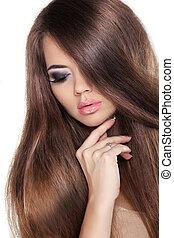 brunetka, fringe., fason, girl., połyskujący, piękno, hair., wzór, woman., odizolowany, brązowy, gładki, hairstyle., zdrowy, tło., długi, piękny, biały
