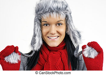 brunetka, futro, zima, ładny, faux, kapelusz