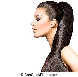brunetka, hairstyle., piękno, fason, dziewczyna, wzór, kucyk