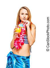 brunetka, hawajczyk, cocktail, lei, szkło, bikini, tło, partia, biały