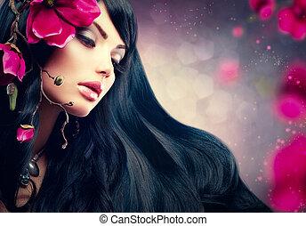 brunetka, jej, piękno, purpurowy, wielki włos, wzór, kwiaty...