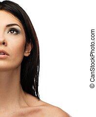 brunetka, kobieta, charakteryzacja, młody, tło, odizolowany, piękny, biały
