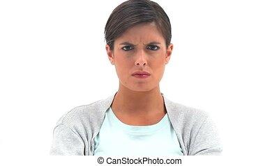 brunetka, kobieta stanie, pionowy