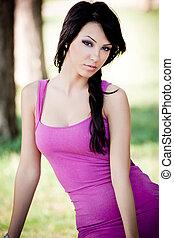 brunetka, młoda kobieta, sexy, portret, fason