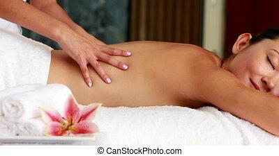 brunetka, massag, dostając, piękny