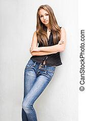 brunetka, modny, model., młody