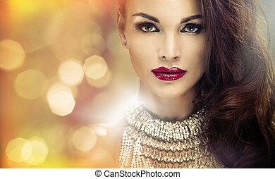 brunetka, patrzeć, zdumiewający, pociągający, portret, dama