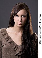 brunetka, piękny
