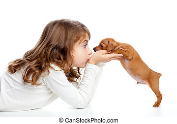 brunetka, profil, dziewczyna, z, pies, szczeniak, mini,...