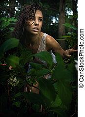brunetka, przedstawianie, las, delikatny