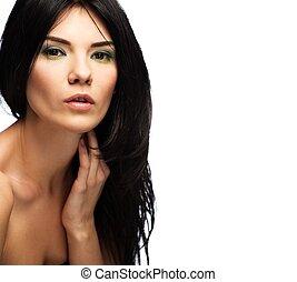 brunetka, tło, piękny, odizolowany, jej, biały, kobieta, szyja, młody, dotykanie