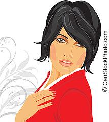 brunetka, w, niejaki, czerwony, bluzka