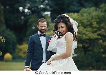 brunett,  elegant, Brudgum, Parkera, brud, Framställ, bakgrund, underbar, klänning