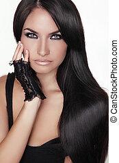 brunett, flicka, girl., skönhet, hair., modell, woman., isolerat, stående, hairstyle., hälsosam, bakgrund., länge, vacker, vit