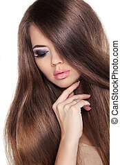 brunett, fringe., mode, girl., glatt, skönhet, hair., modell, woman., isolerat, brun, slät, hairstyle., hälsosam, bakgrund., länge, vacker, vit