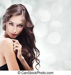 brunett hår, girl., hälsosam, länge, vacker