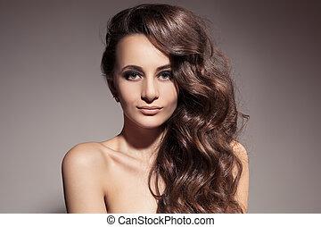 brunett, hair., woman., lockig, länge, vacker