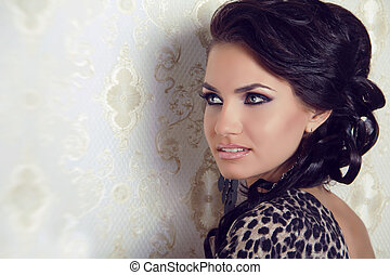 brunett, kvinna, sensuell, hår, lockig, glänsande, silkig