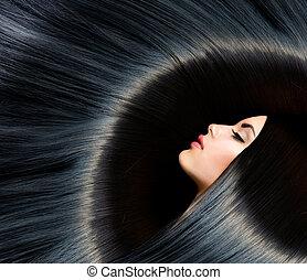 brunett, kvinna, skönhet, svart, hair., hälsosam, länge